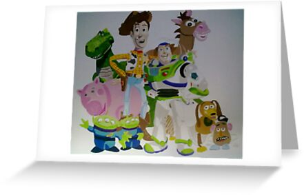 Toy Story wall mural Greeting Cards by Smogmonkey Redbubble