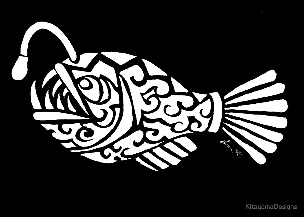 Angler Fish Tribal Design - White by KitayamaDesigns