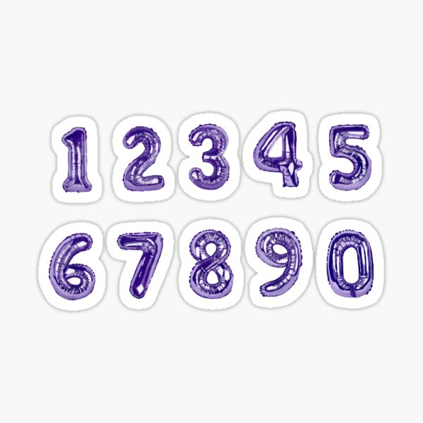 Mylar Balloon Number stickers (purple, hand painted.) Sticker