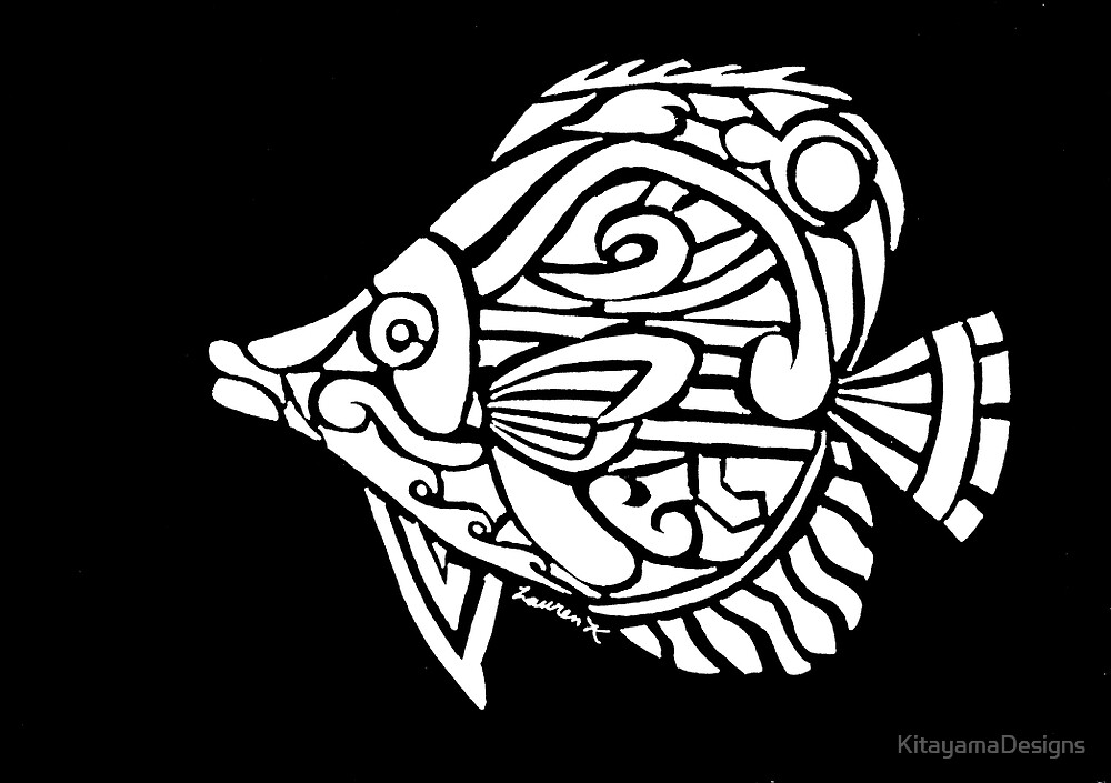 Butterfly Fish Tribal Design - White by KitayamaDesigns