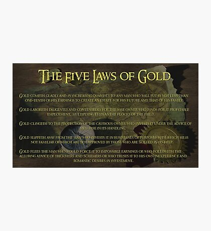 The Five Laws of Gold Photographic Print