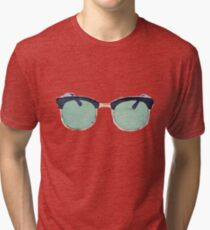 Vintage Sunglasses in Watercolor - Trendy/Summer/Hipster Style Tri-blend T-Shirt