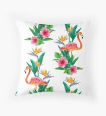 Flamingo Paradise Garden Throw Pillow