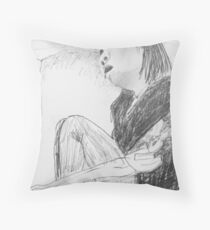 sleeping woman on train Throw Pillow