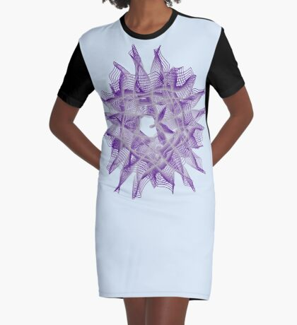 Abstract Violet Spiral Lines Graphic T-Shirt Dress