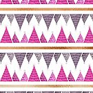 Pink Christmas trees stripes pattern by Cynthia Haller