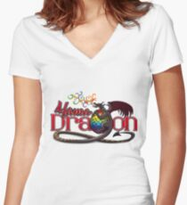 Mama Dragon – Dark Women's Fitted V-Neck T-Shirt
