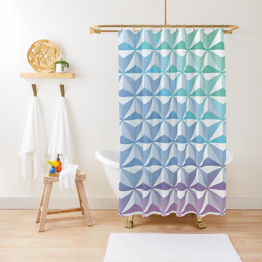 Geodesic Sphere, Blue Shower Curtain