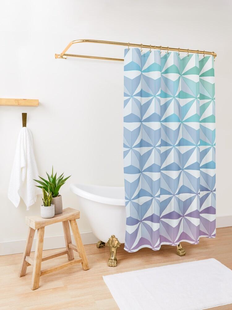 Alternate view of Geodesic Sphere, Blue Shower Curtain