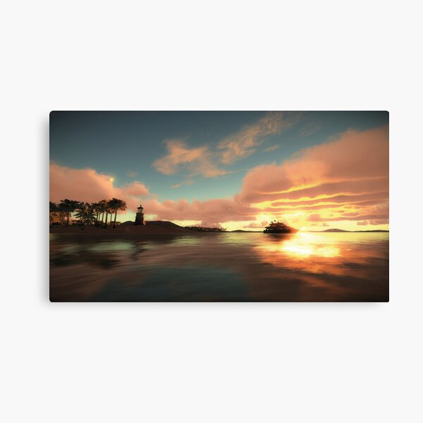 Light House at Tropical Sunset Canvas Print