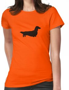 Long Haired Dachshund Silhouette Womens Fitted T-Shirt