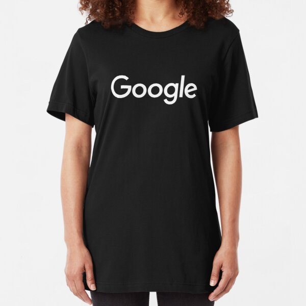 New White Google Logo (September 2015) - Clear, High-Quality, Large Slim Fit T-Shirt