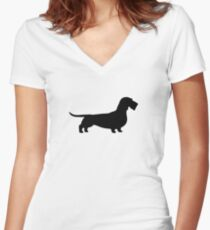 Wire Haired Dachshund Silhouette(s) Women's Fitted V-Neck T-Shirt