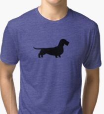 Wire Haired Dachshund Silhouette(s) Tri-blend T-Shirt