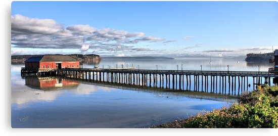 Coupeville Wharf with Boats by Rick Lawler