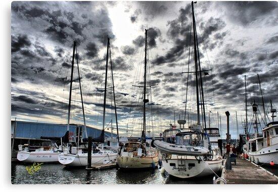 Oak Harbor Marina and Clouds by Rick Lawler