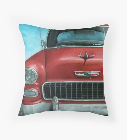 55' Chevy Vintage Car oil painting Throw Pillow