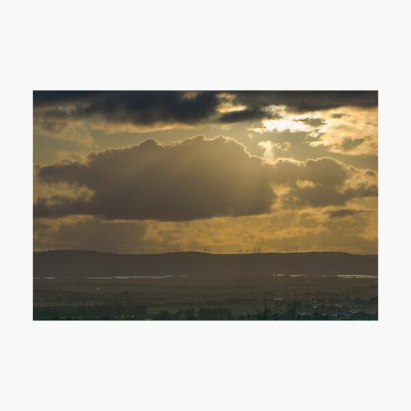 Windfarm at Sunset from Knockma Hill, Galway Photographic Print