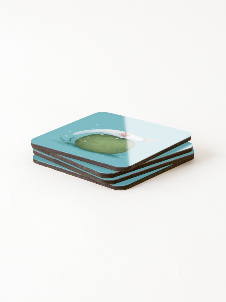 Alternate view of Axolotl on a Mossball Coasters (Set of 4)