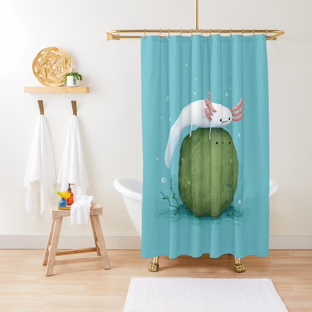 Axolotl on a Mossball Shower Curtain