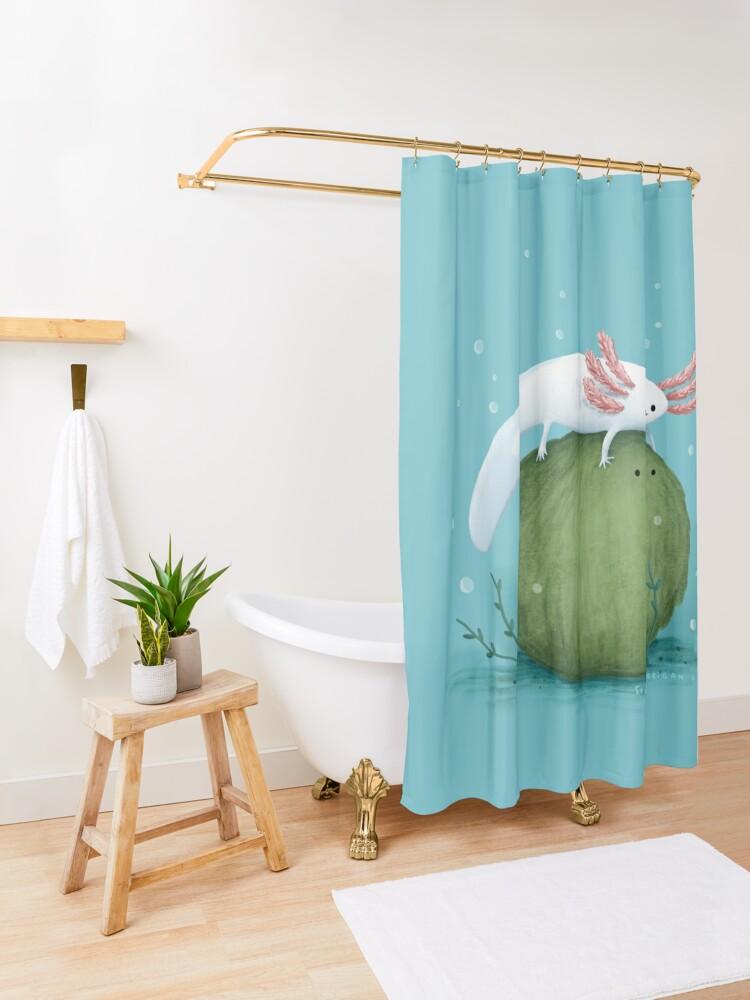 Alternate view of Axolotl on a Mossball Shower Curtain