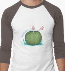 Axolotl on a Mossball Baseball ¾ Sleeve T-Shirt