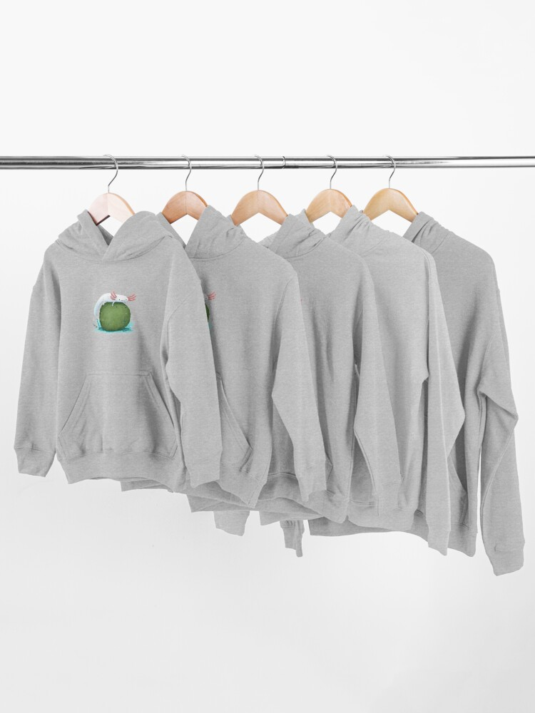 Alternate view of Axolotl on a Mossball Kids Pullover Hoodie