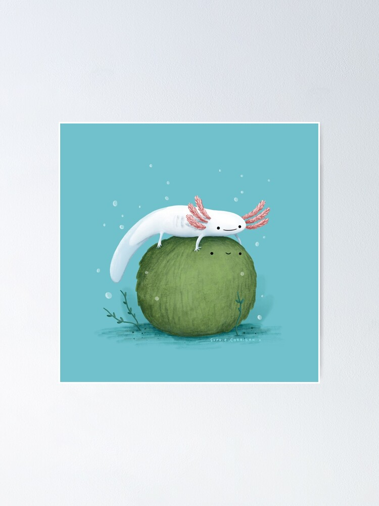 Alternate view of Axolotl on a Mossball Poster