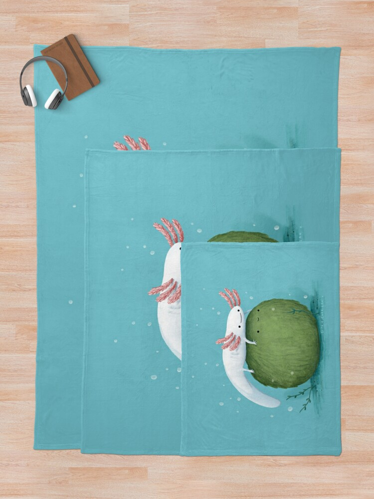 Alternate view of Axolotl on a Mossball Throw Blanket