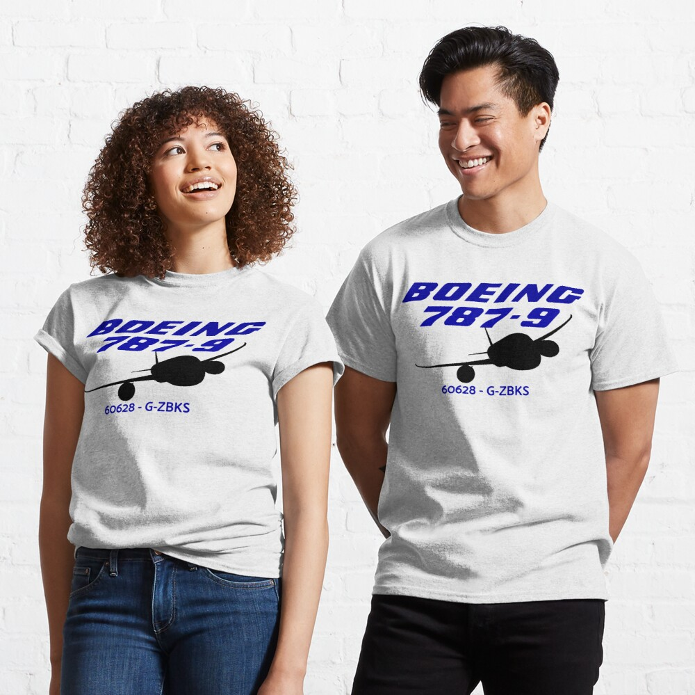 Boeing 787-9 60628 G-ZBKS (Black Print) Classic T-Shirt