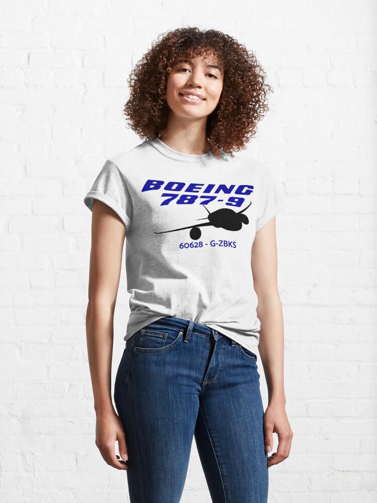 Alternate view of Boeing 787-9 60628 G-ZBKS (Black Print) Classic T-Shirt