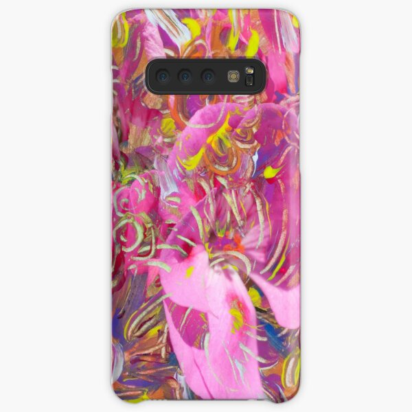 pink orange flower abstract art Samsung Galaxy Snap Case