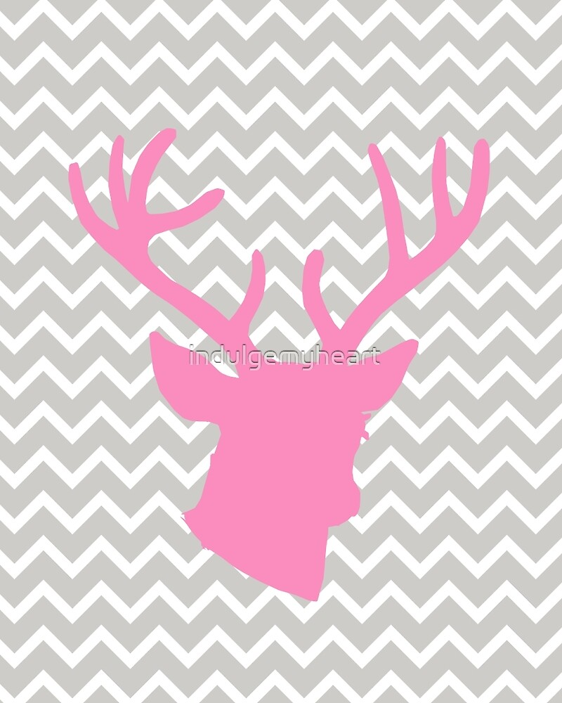 Pink Deer with Chevron by indulgemyheart