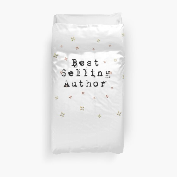 Best Selling Author Design Keeps You Inspired And Writing! Black Typewriter Font Duvet Cover