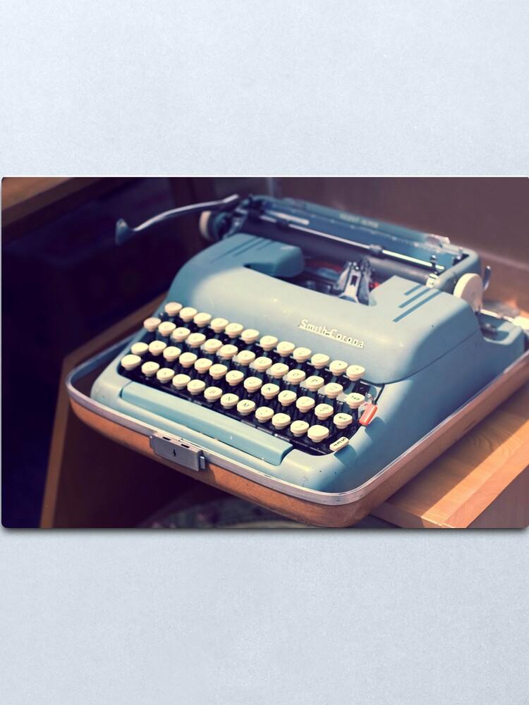 Alternate view of Vintage Baby Blue Typewriter Metal Print