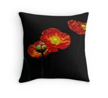 Five Poppies Throw Pillow