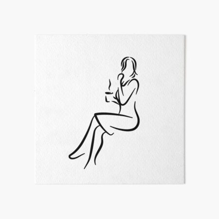 Elegant Lady Minimalist Line Drawing Art Board Print