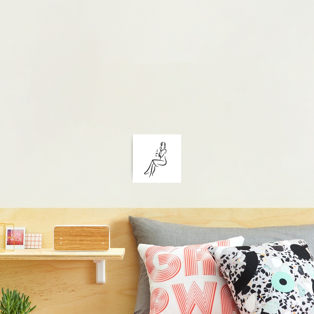 Elegant Lady Minimalist Line Drawing Photographic Print