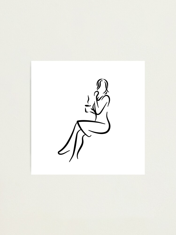 Alternate view of Elegant Lady Minimalist Line Drawing Photographic Print