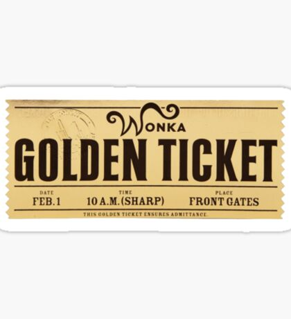 Wonka Chocolate Bar Golden Ticket: Stickers | Redbubble