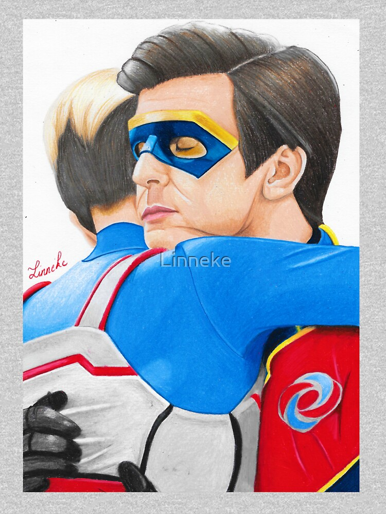 Captain Man and Kid Danger - Hug Traditional by Linneke