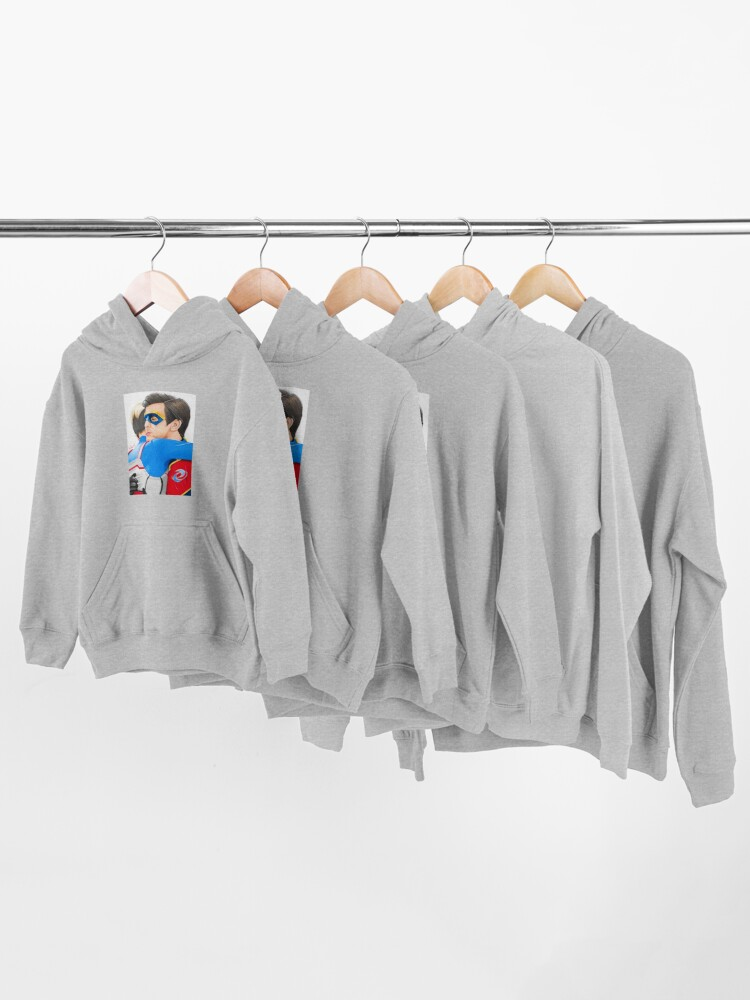 Alternate view of Captain Man and Kid Danger - Hug Traditional Kids Pullover Hoodie
