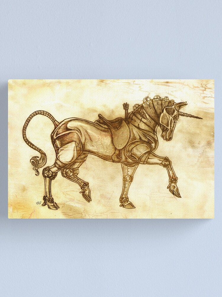 Alternate view of Steampunk Unicorn Sketch Canvas Print