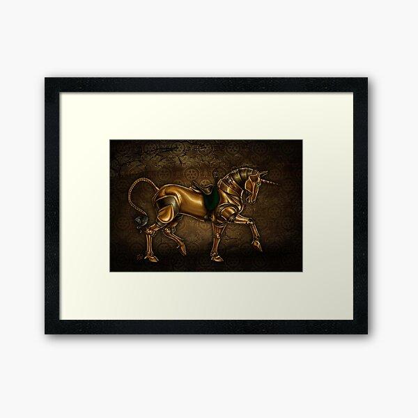 Steampunk Unicorn Damask Framed Art Print
