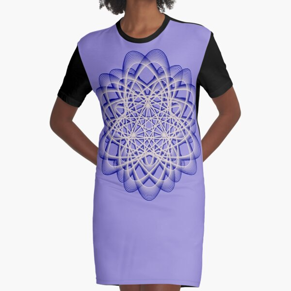 Abstract Blue Violet Atomic Swaps Graphic T-Shirt Dress