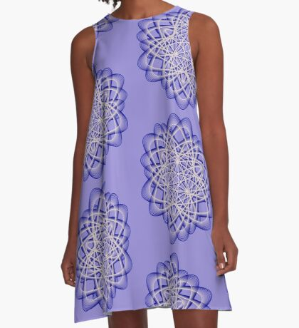 Abstract Dark Blue Violet Atomic Swaps A-Line Dress