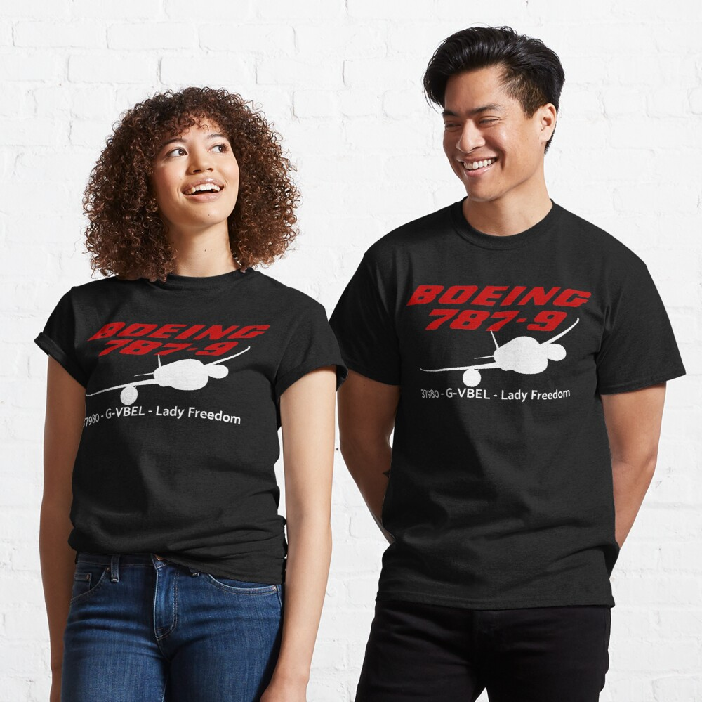 Boeing 787-9 37980 G-VBEL (White Print) Classic T-Shirt