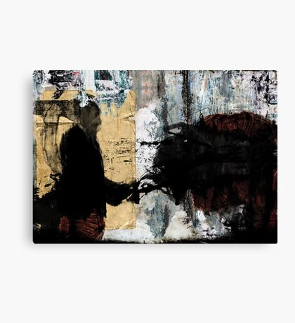 The stranger grieves while he walks forward to the machinery Canvas Print