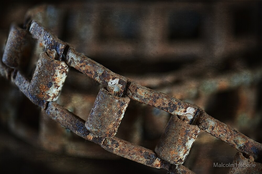 """"""" Abstract ... Old fertilizer machinery drive chain """"  by Malcolm Heberle"""