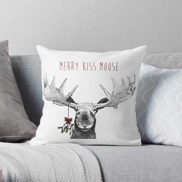 Merry Kiss Moose Christmas Mistletoe Throw Pillow